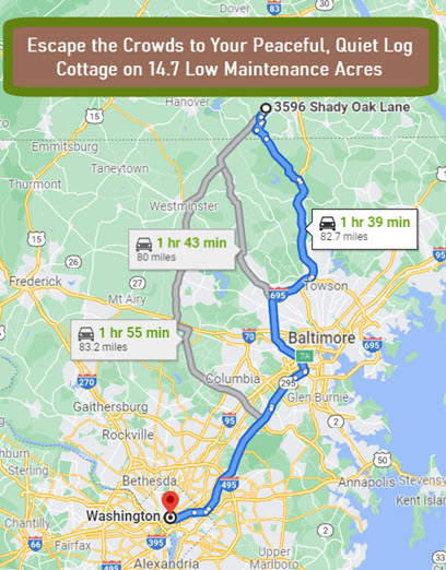 This map shows the easy drive to the Log Cottage