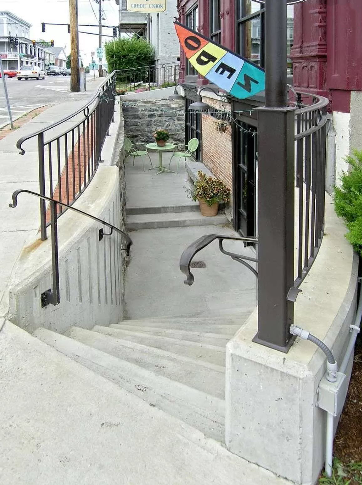 Another view of exterior steps to basement level.